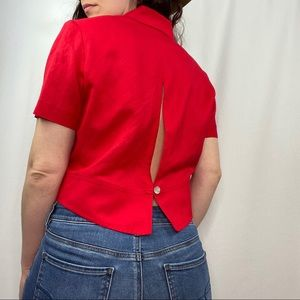 vintage red linen button-up top with cutout back